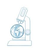 Earth under a microscope, illustration