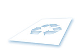 Sheet of paper with recycling symbol, illustration