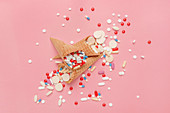 Pills, tablets and capsules in ice cream cones