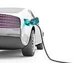 Electric car charging, illustration