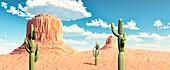 Monument Valley, USA, illustration