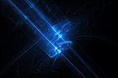 Laser rays in deep space, conceptual illustration