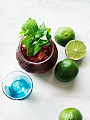 Beet juice with mint and lime