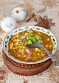 Soup with green split peas