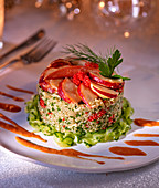 Quinoa timbale with lobster meat