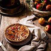 French apple pie with eating apples