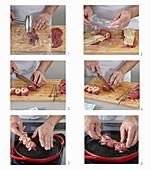 Preparing beef skewers with cheese