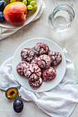 Red velvet crinkle cookies made with beetroot powder