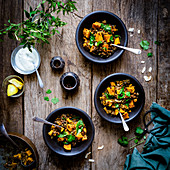 Vegan Sweet potato lentil curry with spinach