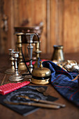 Antique brass bell and candle holders