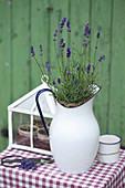 Lavendel in emaillierter Kanne