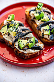 Cubed Avo on Toast with Miso Cream Cheese and Garlic Fried Mushrooms