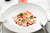 Scallops with radishes, rhubarb and strawberries