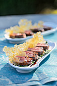 Venison sashimi with pepper caramel
