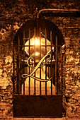 An iron gate to a vaulted cellar, Lanson, Champagne, France