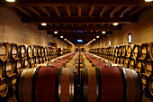 Barrique cellar, Chateau Figeac, Saint Emilion, Bordeaux, France