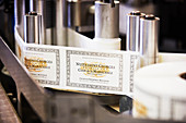 Labels in a machine, Domaine Mugnier, Burgundy, France