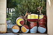 Painted barrique cellar, Domaine Perrieres Kreydenweiss, Rhone, France