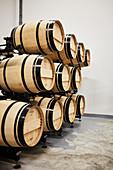 Barrique barrels, Peby Faugeres, Saint Emilion, Bordeaux, France
