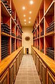 Bottle cellar, Luce della Vite vineyard, Montalcino, Tuscany, Italy