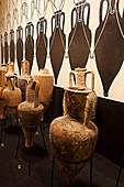 Amphorae in the museum, Lungarotti Rubesco, Umbria, Italy