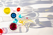 Glasses with colored liquids
