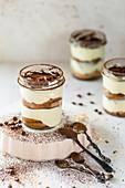 Tiramisu dessert in jar