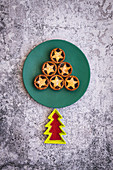 Mince Pies in the shape of a Christmas Tree