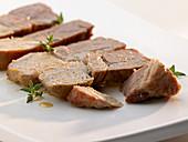 Sliced, braised pork collar