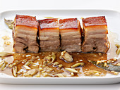 Pork belly confit in lemongrass and soy sauce