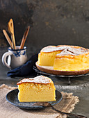 Japanese cotton cheesecake, one slice on a plate