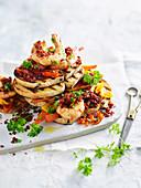 Roasted chorizo and prawns on olive bread