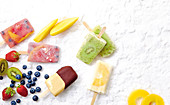 Homemade popsicles with fruit