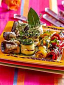 Grilled vegetable rolls