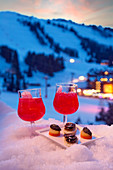 Cocktails and canapés in the snow