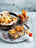 Beer battered fries, sweet potato fries and potato chips