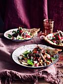 Lamb salad with pomegranate and walnuts (Morocco)