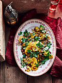 Roasted cauliflower salad with almonds and oranges (Morocco)