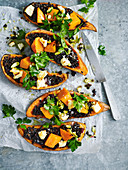 Black barley pilaf and roasted sweet potato