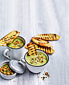 Creamy broccoli soup with quinoa crunch