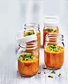 Roasted tomato soup with broccoli pesto