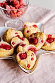 Heart shaped vanilla raspberry shortcakes