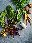 Assorted root vegetables, beets and carrots