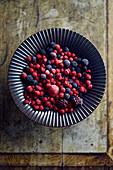 Frozen berries in a bowl