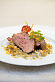 Wild boar thick flank with bacon peas