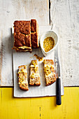 Banana bread filled with passion fruit sauce