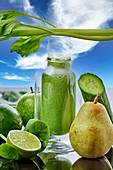 A green smoothie made with pears, apple, spinach and cucumber