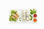 Summer rolls and mini Thai spring rolls