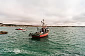 Fishing boat going to collect farmed mussels in Langebaan, South Africa