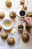 Coffee cinnamon muffins with butter and honey